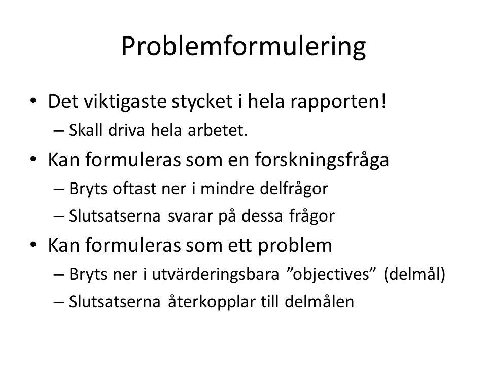 Problemformulering Det viktigaste stycket i hela rapporten!