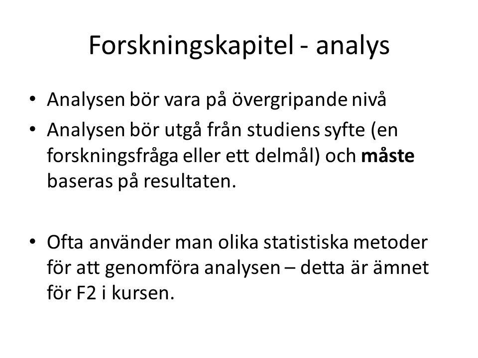 Forskningskapitel - analys