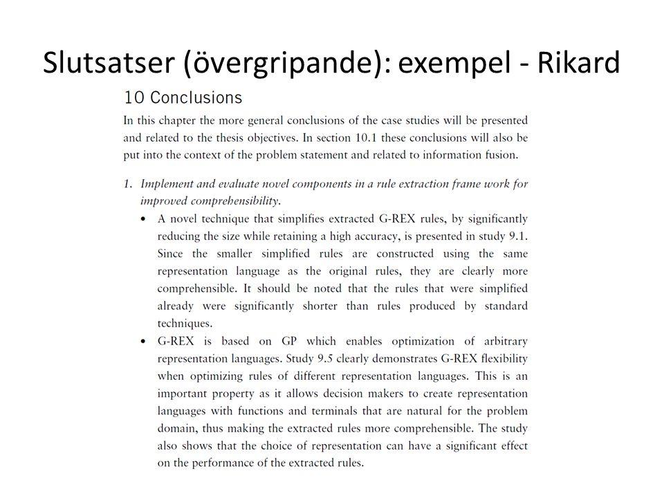 Slutsatser (övergripande): exempel - Rikard