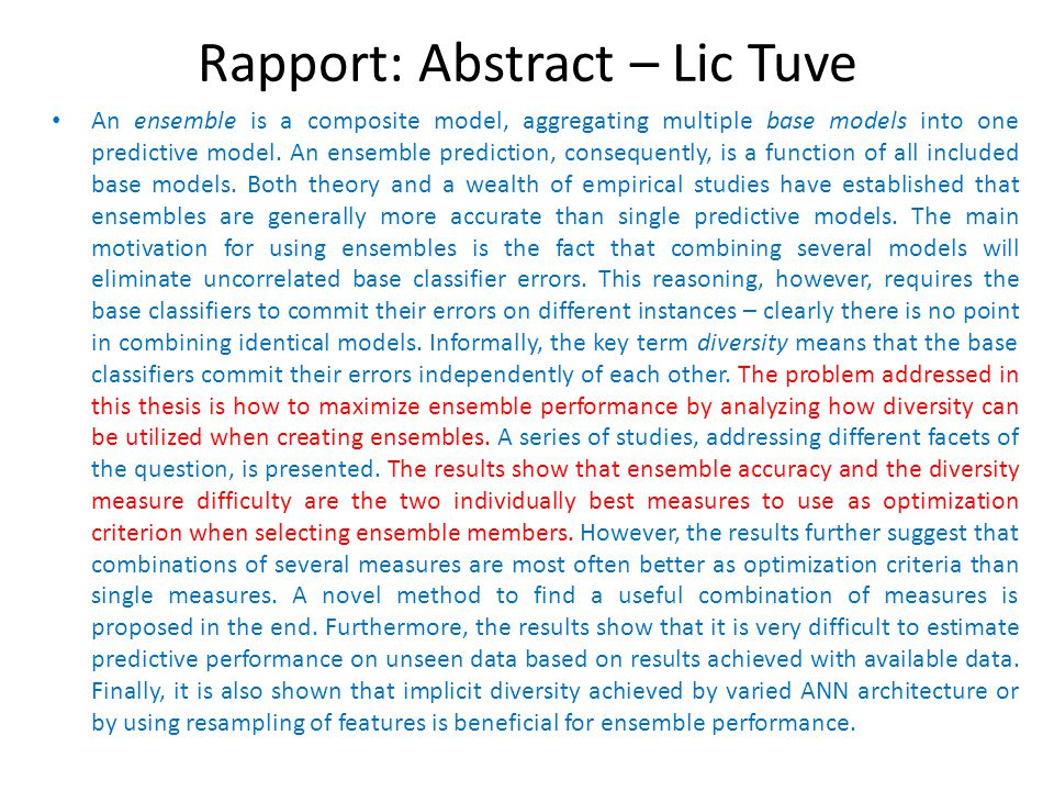 Rapport: Abstract – Lic Tuve