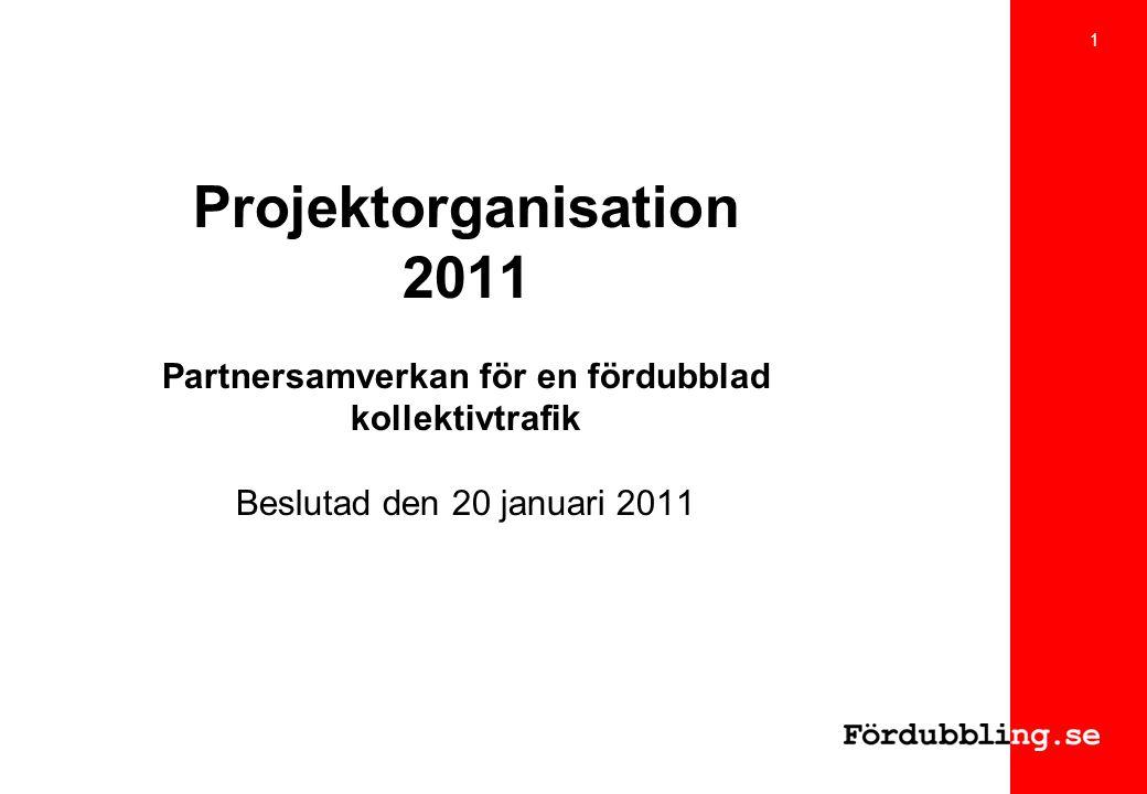 Projektorganisation 2011 Partnersamverkan för en fördubblad kollektivtrafik Beslutad den 20 januari 2011