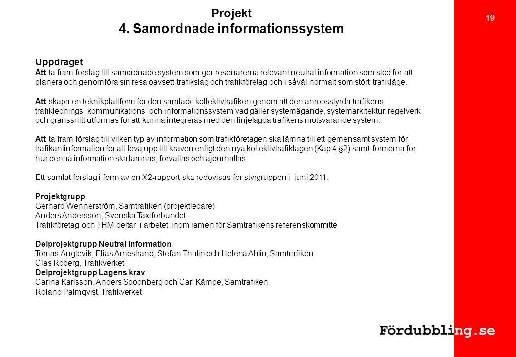 Projekt 4. Samordnade informationssystem