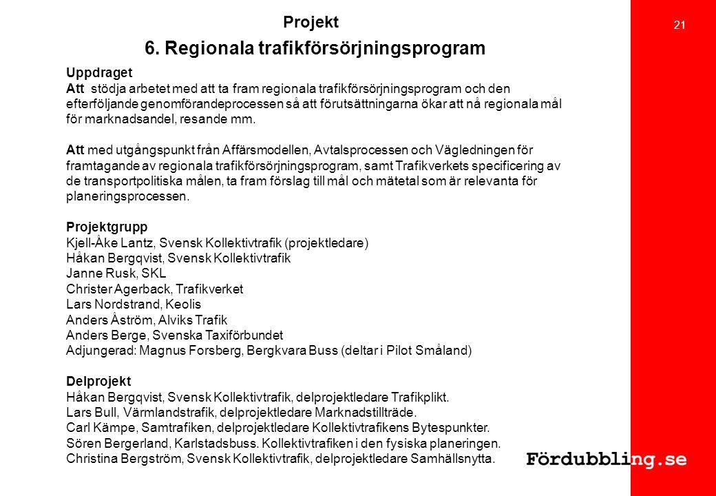 Projekt 6. Regionala trafikförsörjningsprogram