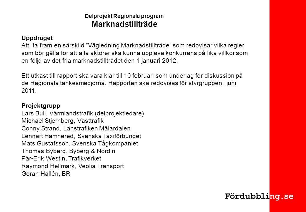Delprojekt Regionala program Marknadstillträde