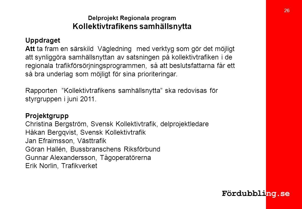 Delprojekt Regionala program Kollektivtrafikens samhällsnytta