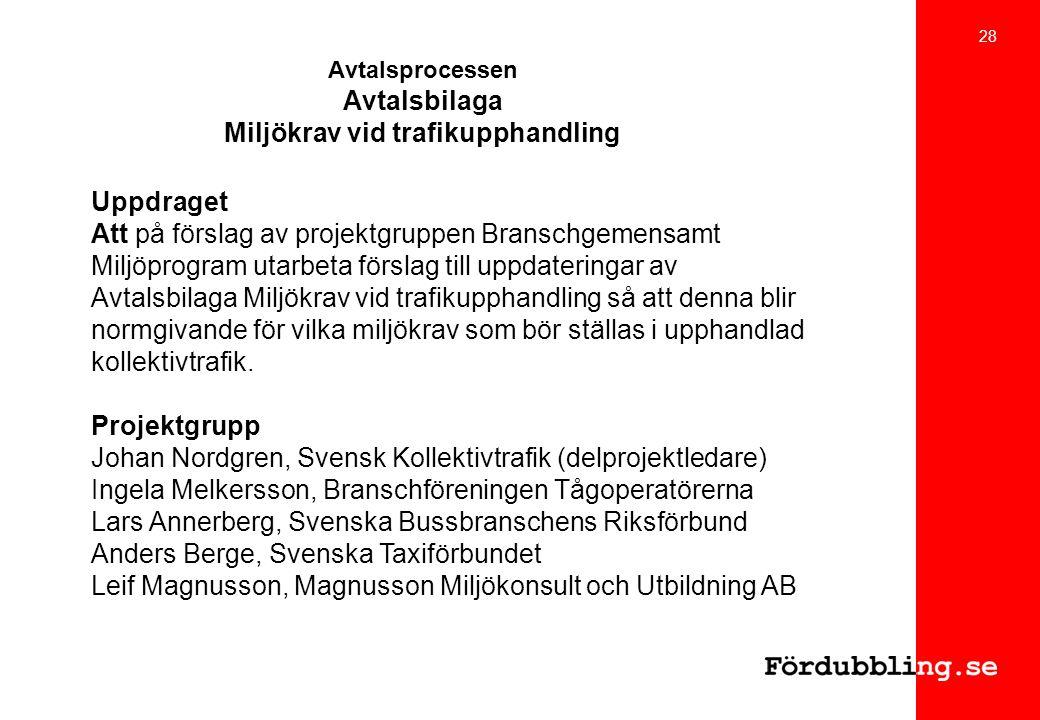 Avtalsprocessen Avtalsbilaga Miljökrav vid trafikupphandling