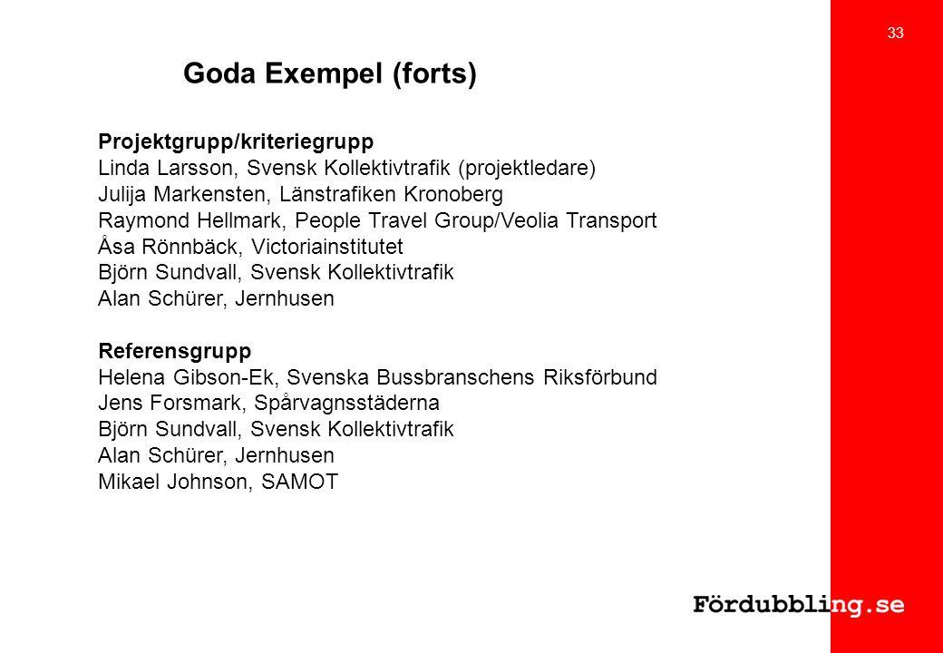 Goda Exempel (forts) Projektgrupp/kriteriegrupp