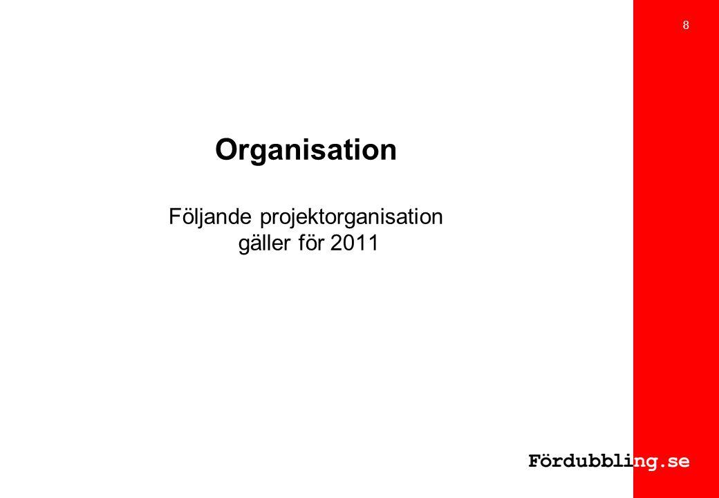 Organisation Följande projektorganisation gäller för 2011