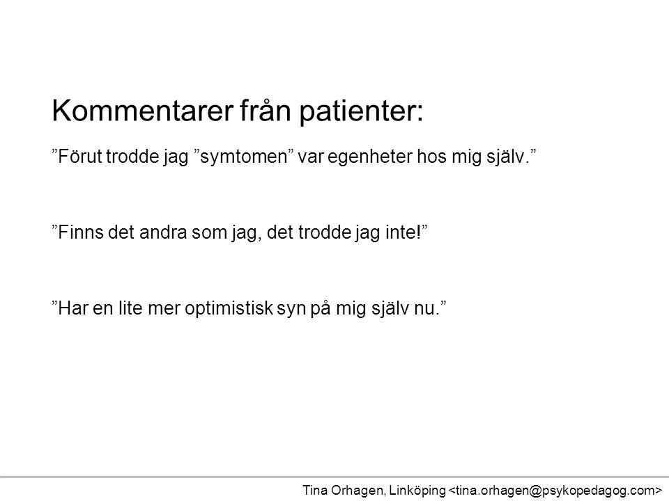 Kommentarer från patienter: