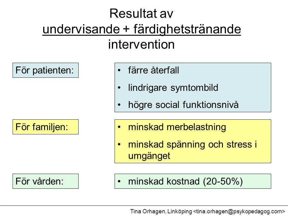 Resultat av undervisande + färdighetstränande intervention