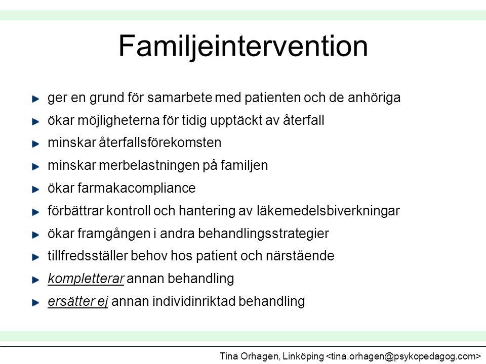 Familjeintervention ger en grund för samarbete med patienten och de anhöriga. ökar möjligheterna för tidig upptäckt av återfall.