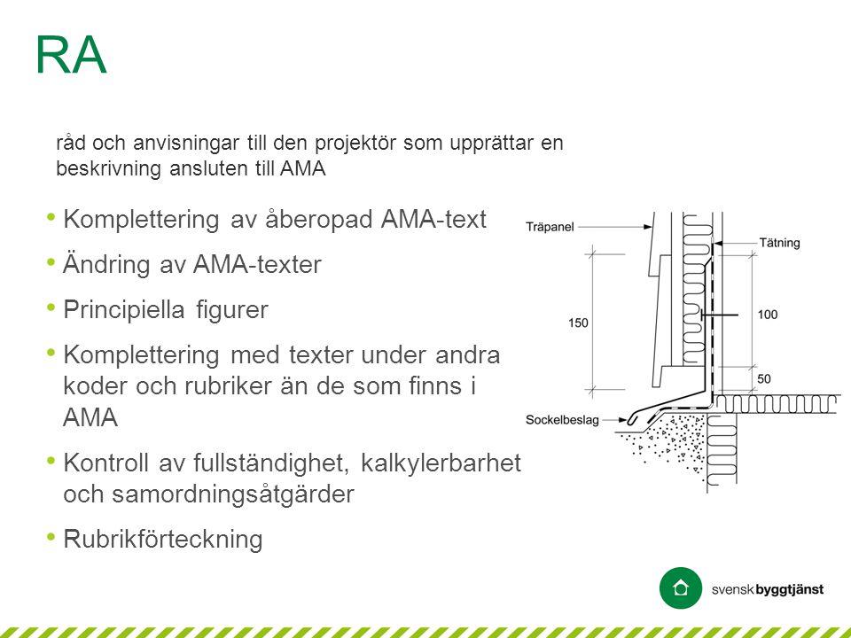 RA Komplettering av åberopad AMA-text Ändring av AMA-texter