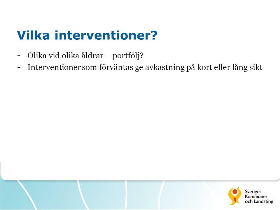 Vilka interventioner Olika vid olika åldrar – portfölj