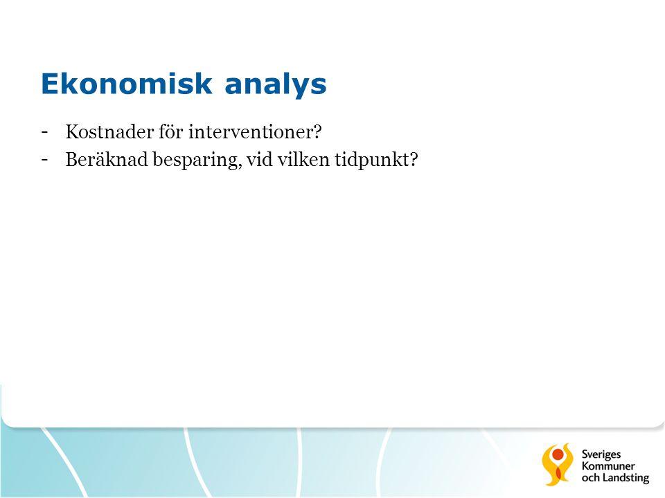 Ekonomisk analys Kostnader för interventioner
