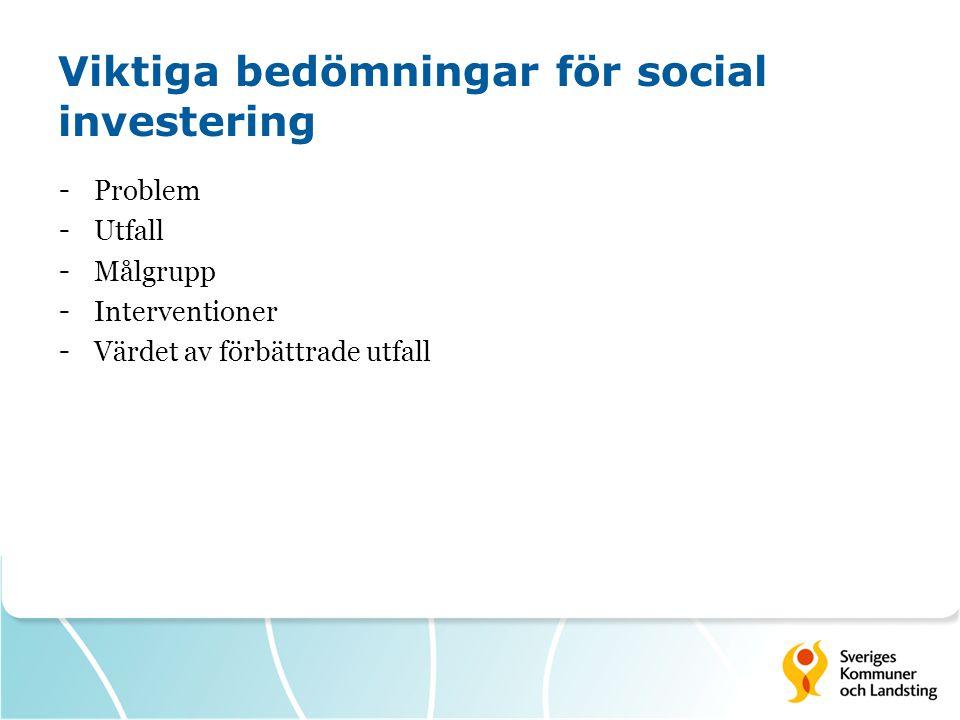 Viktiga bedömningar för social investering