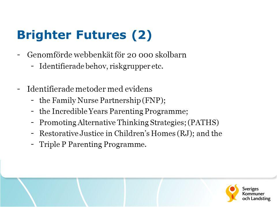 Brighter Futures (2) Genomförde webbenkät för 20 000 skolbarn