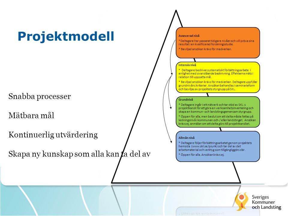 Projektmodell Snabba processer Mätbara mål Kontinuerlig utvärdering