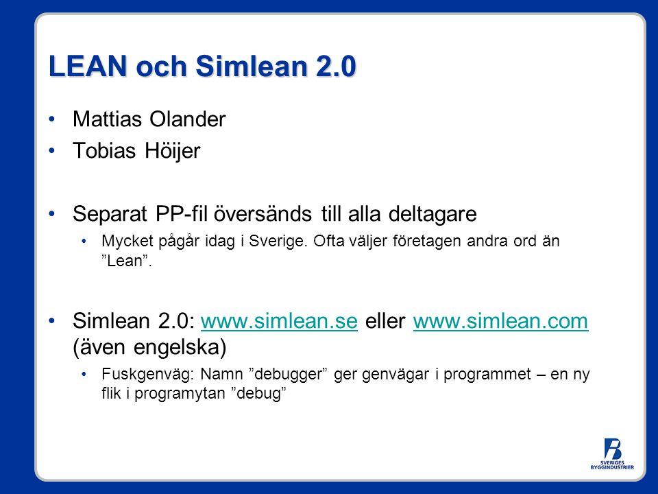 LEAN och Simlean 2.0 Mattias Olander Tobias Höijer