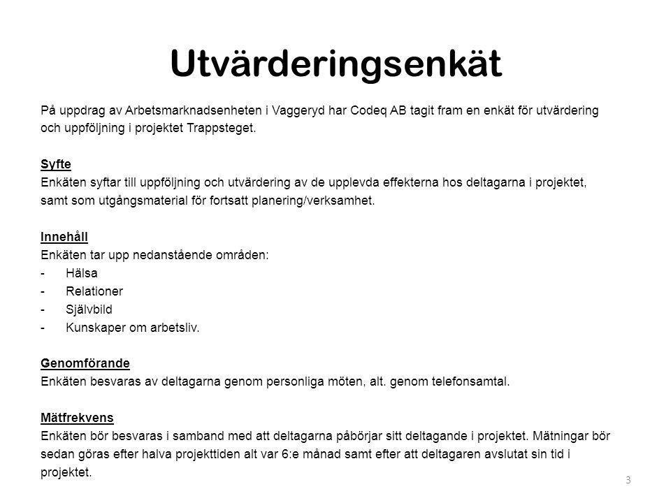 Utvärderingsenkät På uppdrag av Arbetsmarknadsenheten i Vaggeryd har Codeq AB tagit fram en enkät för utvärdering.