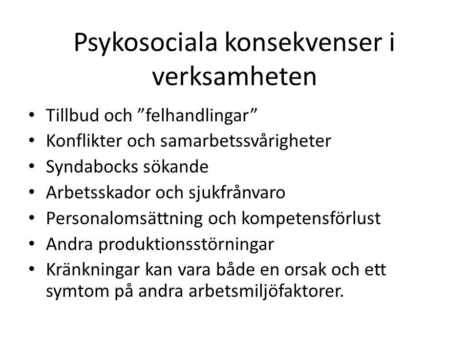 Psykosociala konsekvenser i verksamheten