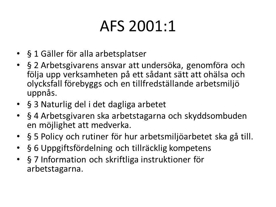 AFS 2001:1 § 1 Gäller för alla arbetsplatser
