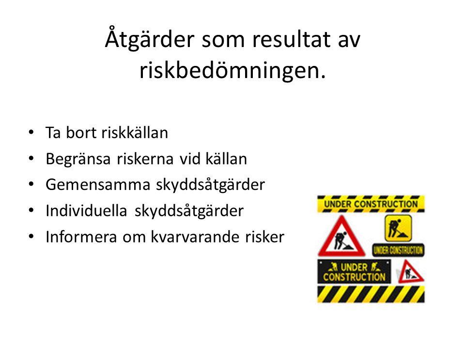 Åtgärder som resultat av riskbedömningen.