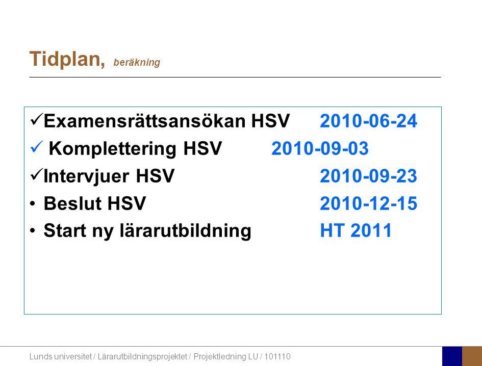 Tidplan, beräkning Examensrättsansökan HSV 2010-06-24