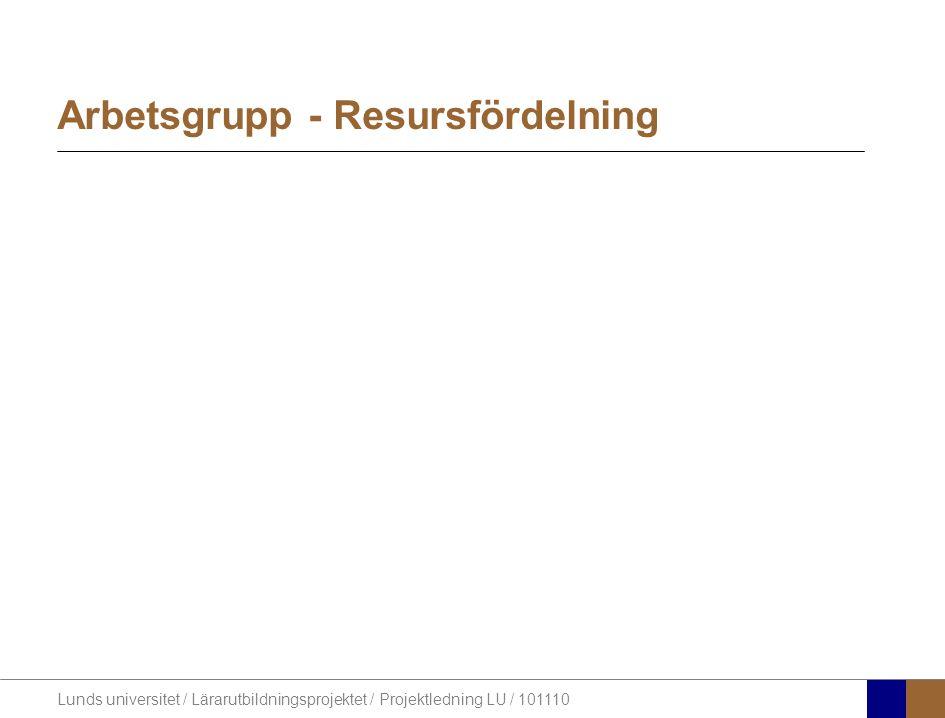 Arbetsgrupp - Resursfördelning