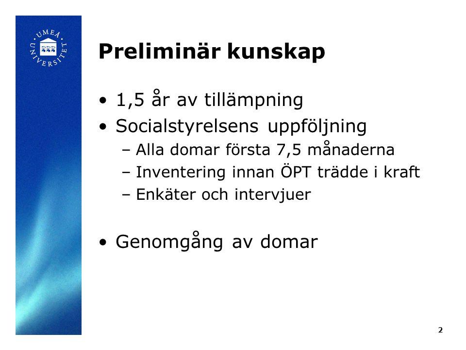 Preliminär kunskap 1,5 år av tillämpning Socialstyrelsens uppföljning