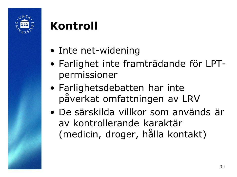 Kontroll Inte net-widening