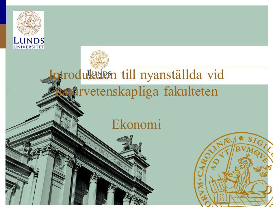 Introduktion till nyanställda vid naturvetenskapliga fakulteten Ekonomi