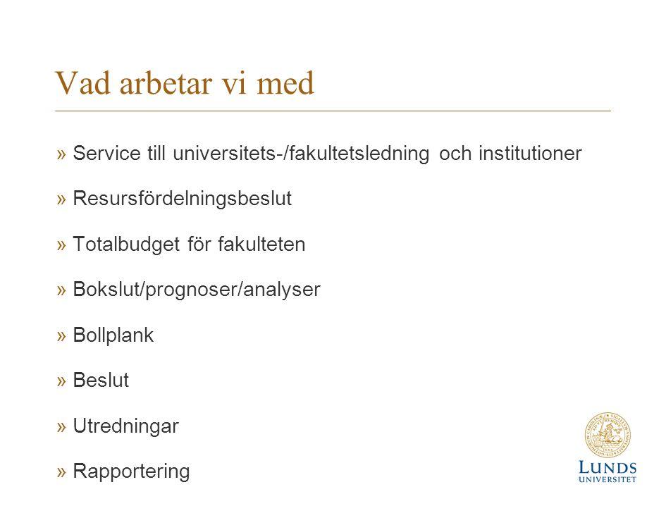 Vad arbetar vi med Service till universitets-/fakultetsledning och institutioner. Resursfördelningsbeslut.