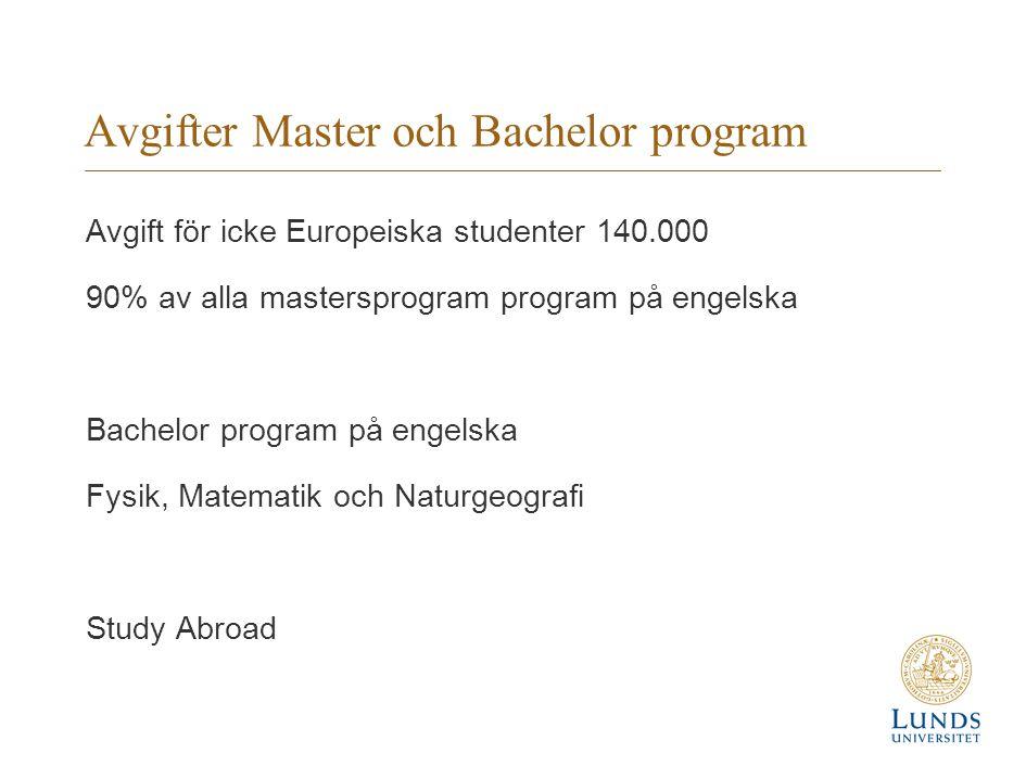 Avgifter Master och Bachelor program