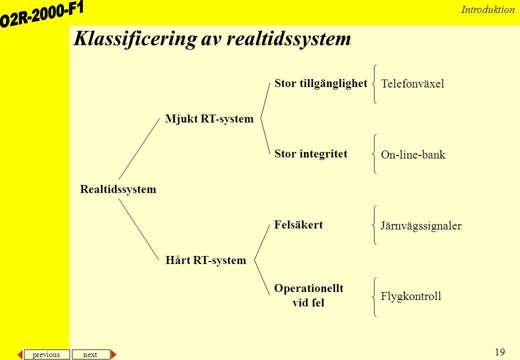 Klassificering av realtidssystem