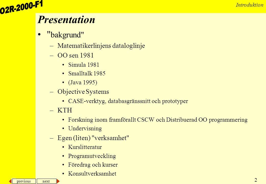 Presentation bakgrund Matematikerlinjens dataloglinje OO sen 1981
