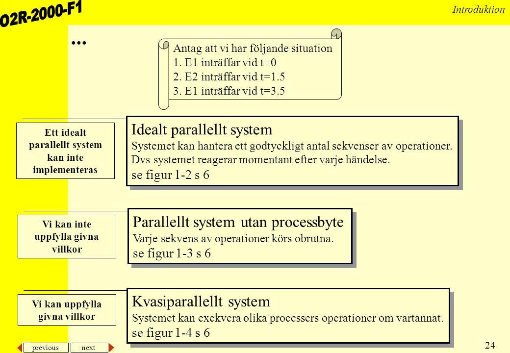 ... Idealt parallellt system Parallellt system utan processbyte
