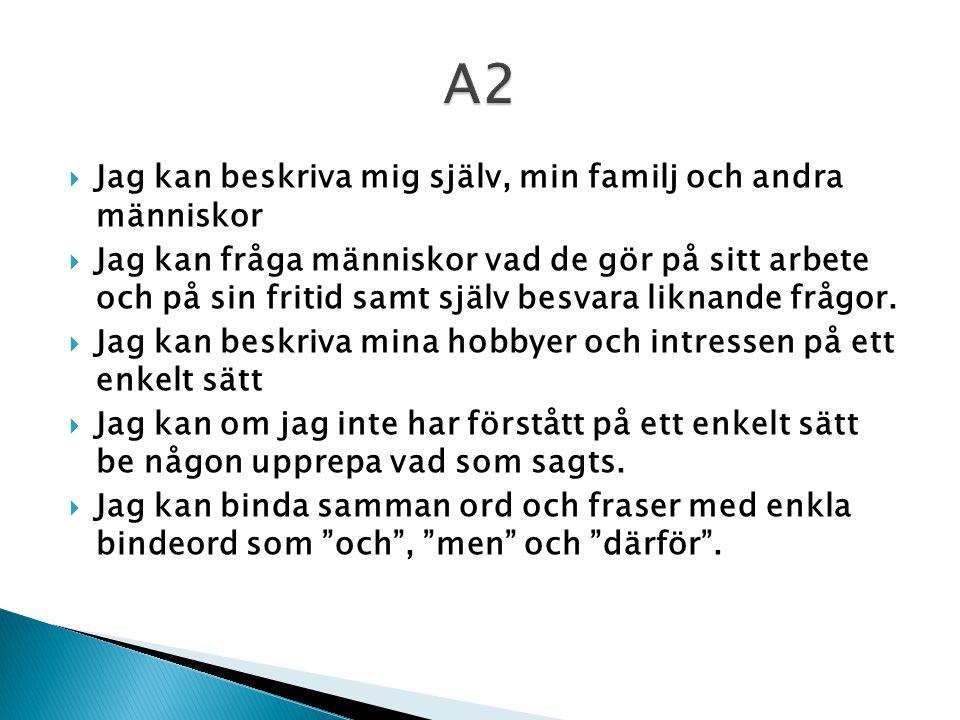A2 Jag kan beskriva mig själv, min familj och andra människor