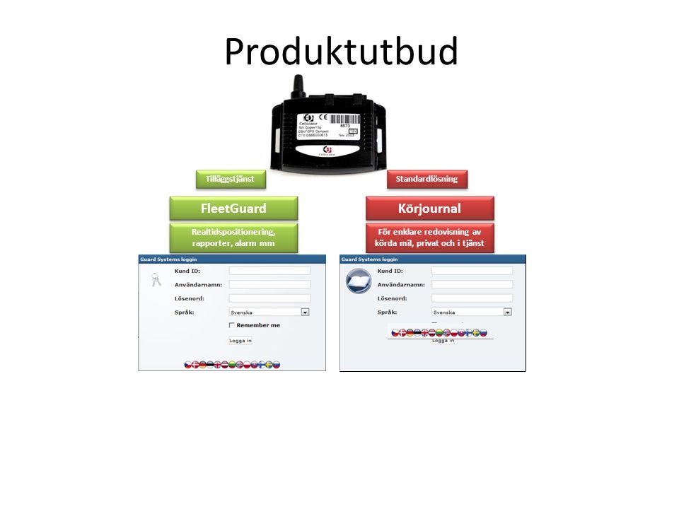 Realtidspositionering, rapporter, alarm mm