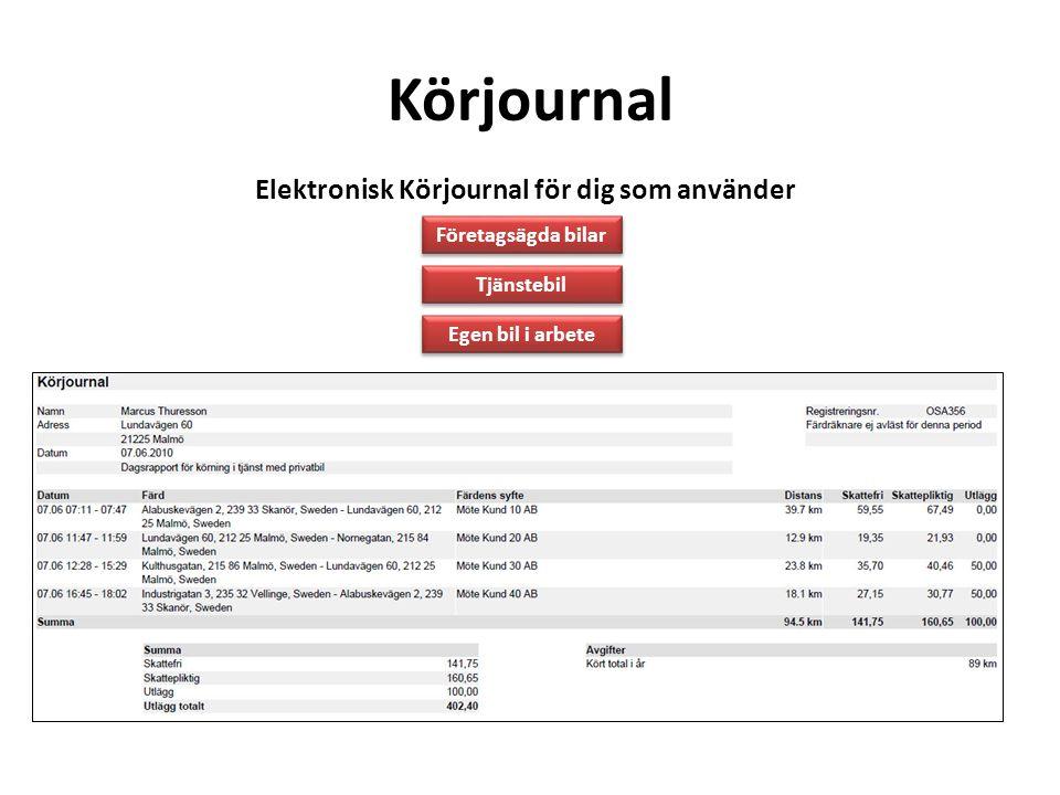 Elektronisk Körjournal för dig som använder