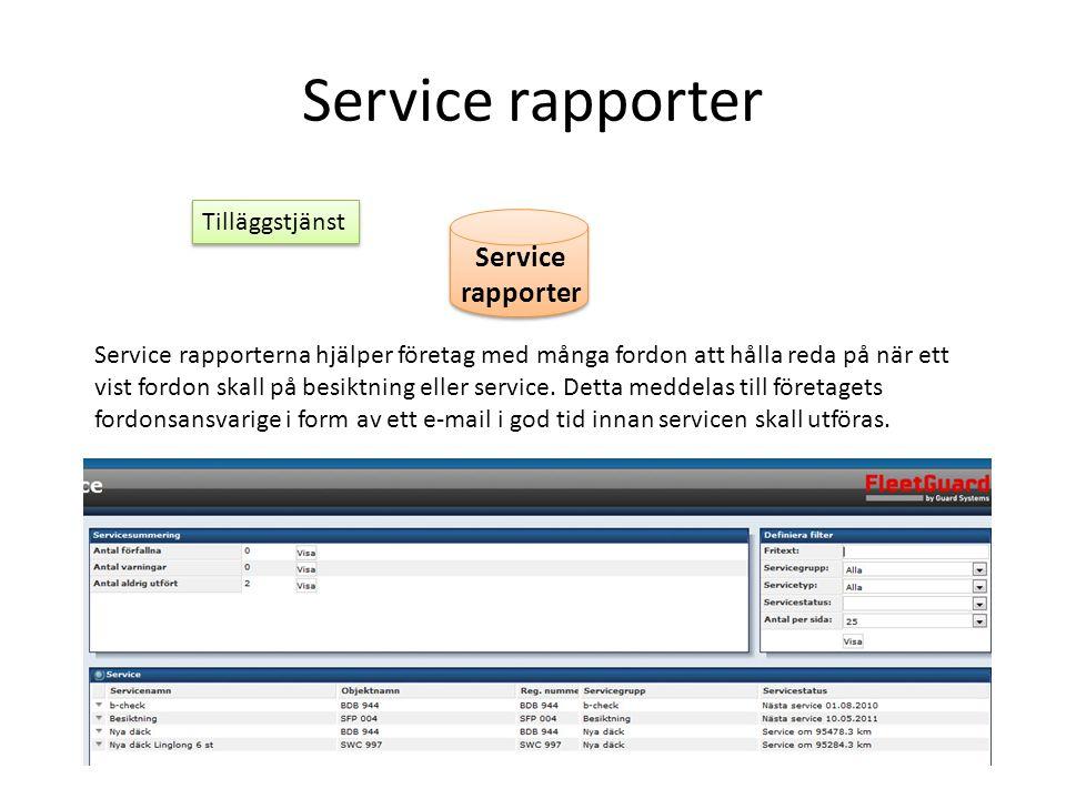 Service rapporter Service rapporter Tilläggstjänst