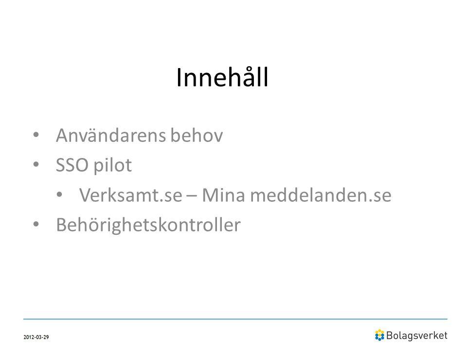 Innehåll Användarens behov SSO pilot Verksamt.se – Mina meddelanden.se