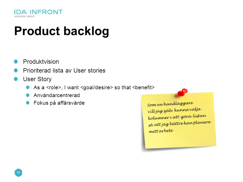 Product backlog Produktvision Prioriterad lista av User stories