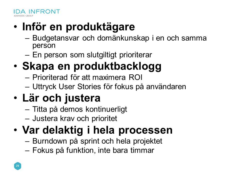 Skapa en produktbacklogg Lär och justera Var delaktig i hela processen