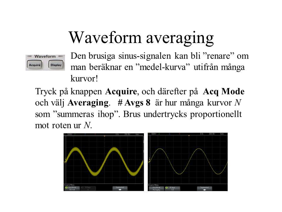 Waveform averaging Den brusiga sinus-signalen kan bli renare om man beräknar en medel-kurva utifrån många kurvor!
