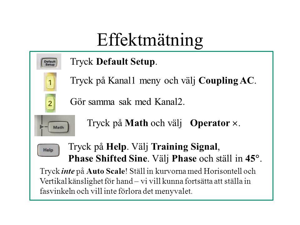 Effektmätning Tryck Default Setup.