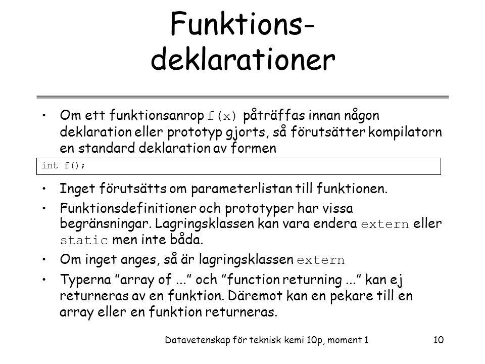 Funktions- deklarationer