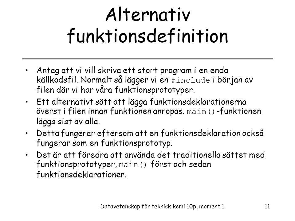 Alternativ funktionsdefinition