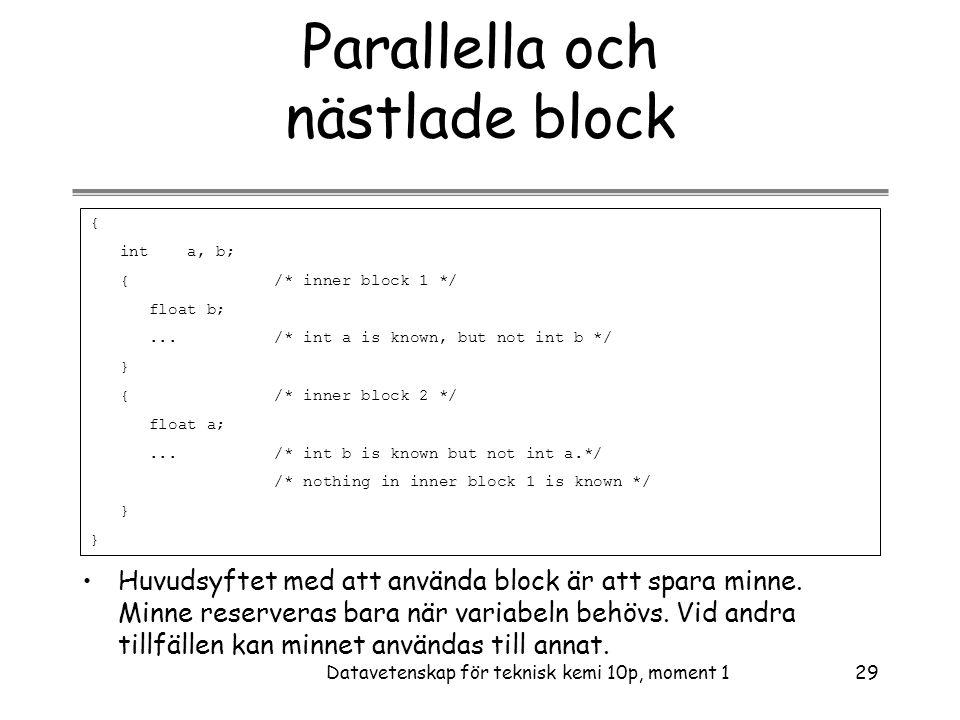 Parallella och nästlade block