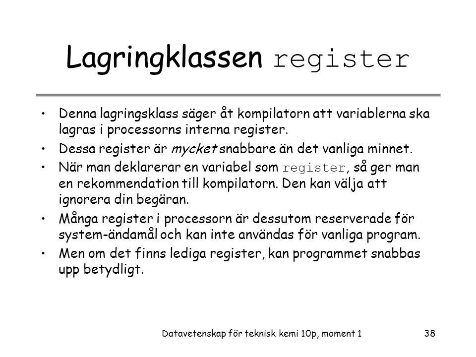 Lagringklassen register
