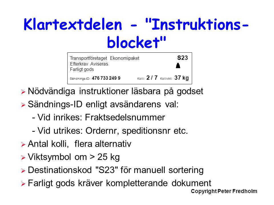 Klartextdelen - Instruktions-blocket